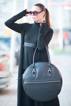 Premium Leather Tote Bag Italian Leather Black Tote by EUGfashion