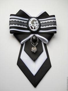 """Купить Брошь-галстук""""Парижанка"""" - чёрно-белый, брошь ручной работы, брошь-бант, брошь-галстук"""