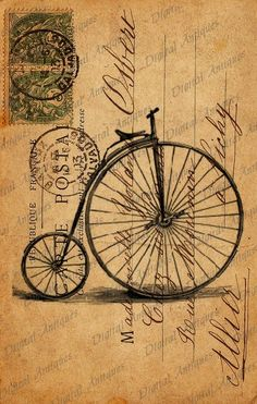 Not a link but cute!  You can always dye your paper (stamp included) with tea and draw your Penny Farthing with postage stamps and old style writing.