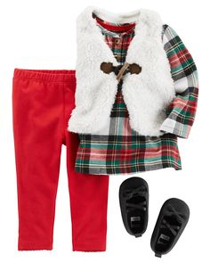 This 3-Piece Little Vest Set is a holiday season essential. In a cozy flannel top, coordinating stretch leggings and a sherpa-lined vest, she will have all eyes on her! Add a pair of shimmer Mary Jane crib shoes to complete this oh-so cute outfit.