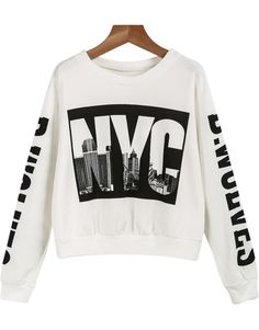 White Long Sleeve NYC Print Crop Sweatshirt