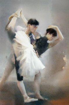 Liu Yi 1958   Chinese Figurative Watercolour painter   The Ballet dancer