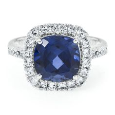 Blue and White Sapphire Ring in White Gold. I own this ring and the picture does NOT do it justice. I love it! #HelzbergDiamonds
