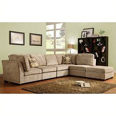 Homelegance Burke 6 Piece Sectional in Brown Beige Chenille * Check out this great product.Note:It is affiliate link to Amazon.