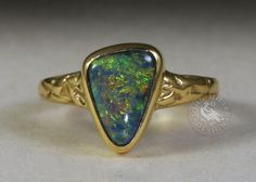 Solid Black Lightning Ridge opal in yellow gold with a fused band John Miller, Lightning Ridge, Solid Black, Handcrafted Jewelry, Opal, Artisan, Brooch, Jewels, Band