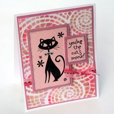 Pink Black Kitty Cat Card Mosaic Fun & Funky by ThePurpleTable, $3.75