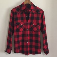 Cozy Red Plaid🌹 This plaid shirt is warmer like a flannel but not actual flannel material  Size L (Men), however, it runs really small I am a size small and fits me great for that loose fit style I'd recommend it for ladies size S-M  Gently worn twice  In excellent condition! Price is firm   (: Tops Button Down Shirts