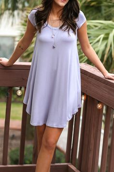 The Last Song Lilac Casual V-Neck T-Shirt Dress - Amazing Lace
