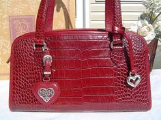 Brighton Alesha Red Handbag Purse – Beautiful, Rich Color  I own one very similar to this one, the left heart is a mirror, love it!