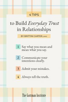 Are you intentional about building trust with your loved one? Some common reasons trust becomes an issue in relationships are dishonesty, unreliability, and betrayal.Thankfully, it's possible to grow trust in your relationship through intentional behaviors. Discover four key trust-building habits on the Gottman Relationship Blog. Relationship Repair, Relationship Blogs, People Lie, Good People, Gottman Institute, John Gottman, Trust In Relationships, Say What You Mean, Tell The Truth