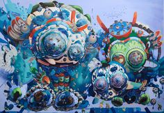 This morning we take a look at the work of South Korean-born artist Mi Ju. Mi received her BFA in painting at SFAI and later went on to earn and. Artist Painting, Painting & Drawing, Shows In Nyc, San Francisco Art, Macabre Art, Colorful Paintings, Pop Surrealism, Amazing Art, Art Drawings