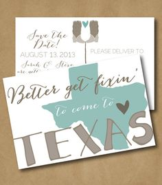 Get Fixin' Save the Date Postcard - Texas Wedding, Texas Save the Date on Etsy…