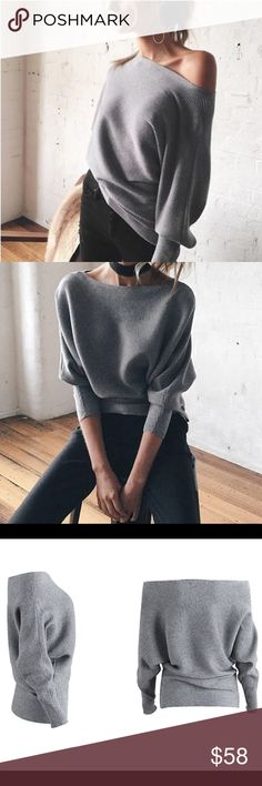🆕 'Kristina' Grey Off the Shoulder Sweater Brand new. One size but best fits XS-M 🙅🏼 No trades 📫 I ship same day ☝🏻 I only sell on posh 🎁 I offer 10% off bundles of 3+ items ❓Comment with any questions! Sweaters