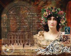 Digital Collage Original Artwork  By Jill McCall 2012  Feathers & Flight: