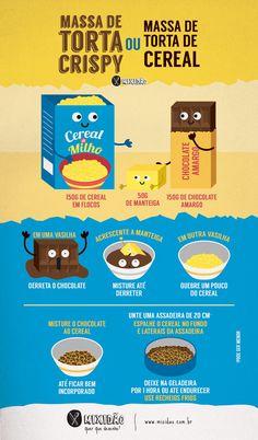 Receita ilustrada de Massa de Torta Crispy, uma torta que não vai ao forno, utiliza só 3 ingredientes. Muito fácil e rápido de preparar. Ingredientes: Cereal de milho, chocolate e manteiga