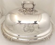 ANTIQUE VICTORIAN SILVER PLATED MEAT / FOOD COVER / DOME c1860