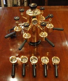 RARE Vintage Femoka Paris Brass 5 Station Espresso Coffee Machine 5 Extra Cups #kafeinism