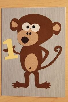 First birthday card for a monkey-themed party.