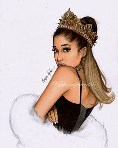 @arianagrande  4 days guys!! Im so excited for the new album omg // pls tag her and follow my personal @felipegoca  Im so proud of this drawing but I don't like the crown at all anyway hope you liked bbys, Im working in a new video so stay tuned