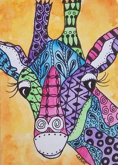 ACEO LE Print Giraffe Doodle Zoo Jungle Animal Zentangle Painting LaRusc