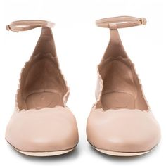 Chloe Pink Magda Leather Ballet Flats ($495) ❤ liked on Polyvore featuring shoes, flats, ballet pumps, leather shoes, pink ballet flats, strappy flats and ankle strap shoes