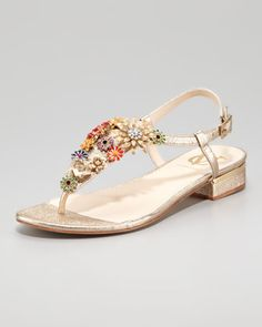 Marla Floral Brooch Flat Thong Sandal by VC Signature at Neiman Marcus.