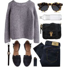 Steven Alan Black Leather Sandals, Grey Seed Stitch Sweater and perfect black leather purse