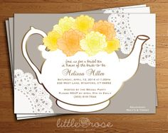 Bridal Tea Party Invitation Floral Teapot Bridal Shower Invitation DIY-Printable Digital File Only**