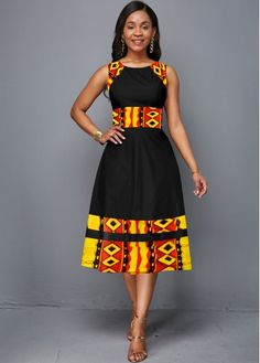 Women'S Black Tribal Print Sleeveless Vintage Dress Round Neck A Line Midi Elegant Cocktail Party Dress By Rosewe Sleeveless Tribal Print Round Neck Short African Dresses, Latest African Fashion Dresses, African Print Dresses, African Print Fashion, Women's Fashion Dresses, Ankara Dress Styles, Africa Fashion, Moda Afro, African Attire
