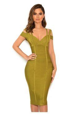 63ed24bf65419 Army green V neck cap sleeve bandage dress Green Bandage Dress