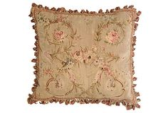 Antique Aubusson Pillow w/ Roses on OneKingsLane.com