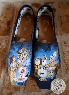 Custom designed hand painted Toms shoes inspired by Disney's Beauty and the Beast  PLEASE READ BEFORE CONTACTING: