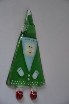 Handmade Fused Glass Art One Father Christmas by PamPetersDesigns