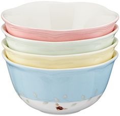 Butterfly Meadow Dessert Bowls by Lenox, Set of 4. Like colors of sherbet, each bowl is encircled by a different pastel band – green, blue, pink, and yellow. And each bowl bears a different butterfly at its center – a tiger swallowtail, monarch, orange sulphur, and blue butterfly.... - http://kitchen-dining.bestselleroutlet.net/product-review-for-lenox-butterfly-meadow-12-ounce-dessert-bowls-set-of-4/