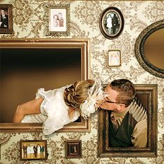 wedding photobooth backdrop/set - empty frames to pose in, old family photos on the wall