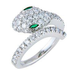 Diamond White Gold Snake Ring