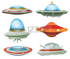 Flying Saucer, Spaceship And UFO Set/ Illustration of a set of cartoon funny UFO, unidentified spaceship and spacecrafts from alien invaders, with various futuristic shapes - stock vector Cartoon Spaceship, Alien Spaceship, Flying Ship, Ufo Tattoo, Hansel Y Gretel, Alien Ship, Bee Illustration, Retro Rocket, Models