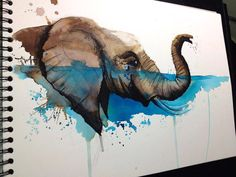 Elephant watercolor tattoo idea, this is so freakin cool!!
