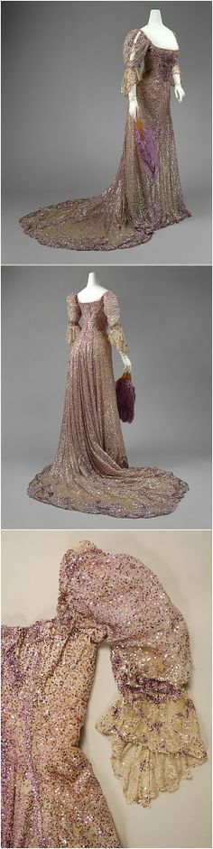 Half-mourning dress by Henriette Favre, 1902, at the Met. Belonged to Queen Alexandra of the United Kingdom. See: http://www.metmuseum.org/collection/the-collection-online/search/82655?img=0