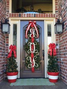 Initial Door Hanger Wooden Letters Door Wreath Door Sign image 1 – My World Christmas Front Doors, Christmas Door Decorations, Christmas Porch, Christmas Wreaths, Christmas Crafts, Christmas Print, Christmas Staircase, Christmas Ideas, Simple Christmas