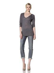 SIMP Women's Stripe Long Sleeve Hoodie (Charcoal)