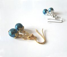 Peacock Blue Glass Bead Earrings in Gold or by SendingLoveGallery