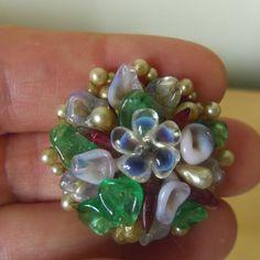 LOUIS ROUSSELET ( 1892- 1980)  boucles d'oreilles vintage pâte de verre et perle