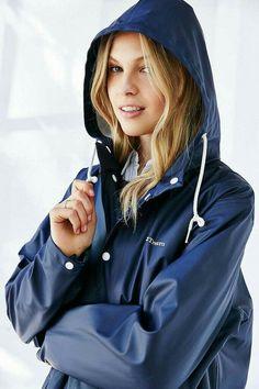 261bd719f4a1 Rainy Day Fashion, Rain Fashion, Blue Raincoat, Raincoat Jacket, Pvc  Raincoat,