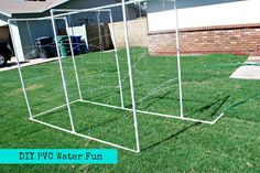 DIY PVC Backyard Water Park  Just add some pool noodles and sponges to make a kiddie car wash.