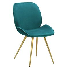 Sorell Dining Chair | Teal velvet with Brass Legs