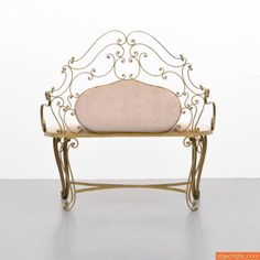 Pink wrought iron bench. Made in Italy. Designed by Pier Luigi Colli.