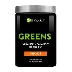 Greens™ Value Size – Orange  Non GMO, All Natural 8 servings of fruits and veggies, sugar and chemical free with probiotics, herbs and green tea!! Drink in cold water or add to a smoothie or yogurt!