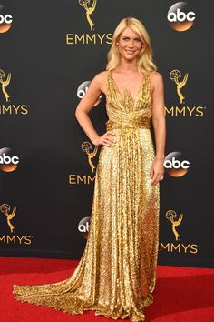Claire Danes  in a statuesque,glittering gown by Schiaparelli at Emmys 2016.