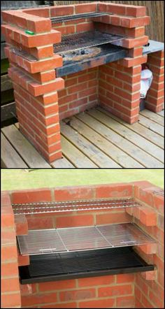 Build a brick barbecue for your backyard Easy to build and use this low maintenance and durable grill! Could you use them in your garden? Check out different versions of DIY brick BBQ from diyprojects. Outdoor Projects, Garden Projects, Diy Projects, House Projects, Brick Projects, Garden Tools, Outdoor Oven, Outdoor Cooking, Brick Grill